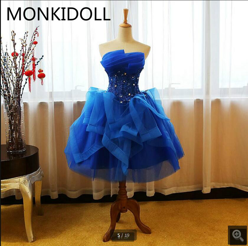 Ball-Gown Prom-Dress Informal Beaded Appliques Sweetheart-Neck Royal-Blue Ruffled Lace