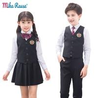 kids boy girls clothing sets school student clothes for teenage uniform campus costume children party suits(vest+shirt+vest+tie)