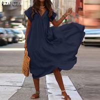 Большие размеры, платье с оборками, Женский ассиметричный сарафан ZANZEA 2019, модное летнее платье средней длины, женское платье с коротким рука...