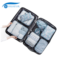Hylhexyr 8PCS Oxford Waterproof Travel Clothing Bag Packing Cube Set Luggage Organizer Pouch With Shoe Bag