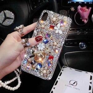 Image 5 - Capa de celular fashion com brilho, capa tpu macia com pedras de cristal, com glitter, para huawei p30 pro p30 p20 lite correia de joias