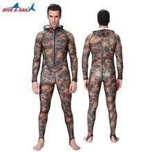 DIVE & SAIL tienda oficial de una pieza Con Capucha trajes de Lycra Rash Guard traje de buceo Surf Traje de Baño de los hombres de manga Larga de Camuflaje