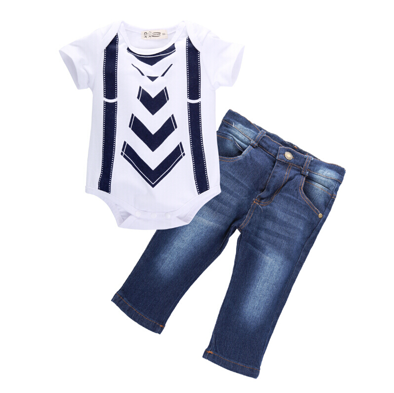 Toddler Tops Suit Outfit  Rompers Jeans Long Pants High Quality Infant Baby Boys Kids Clothes Set 6 9 12 18M Children Kid Boy baby boys girls t shirt tops long pants trousers rompers kids outfit set clothes