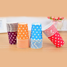 10 pcs/pack Multi-color Baby Shower Red Polka Dots Birthday Party Disposable Tableware Decorate Paper Kids Favors Pink Blue Cups
