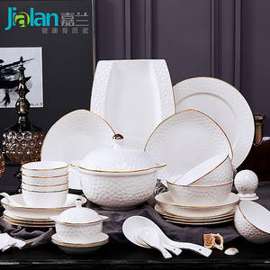 Bowl Dishes-Set Porcelain Tableware China Household Luxury European 60 Relief Bone Garland