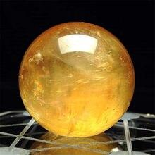 1 шт. Цитрин шарики из камня натуральный желтый кварцевый камень сфера Кристалл флюорит шар Исцеление драгоценный камень 40 мм # T09