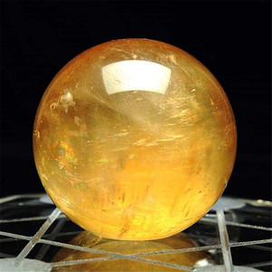 1PC Citrine Stones Ball Natural Yellow Quartz Stone Sphere Crystal Fluorite Ball Healing Gemstone 40mm #T09