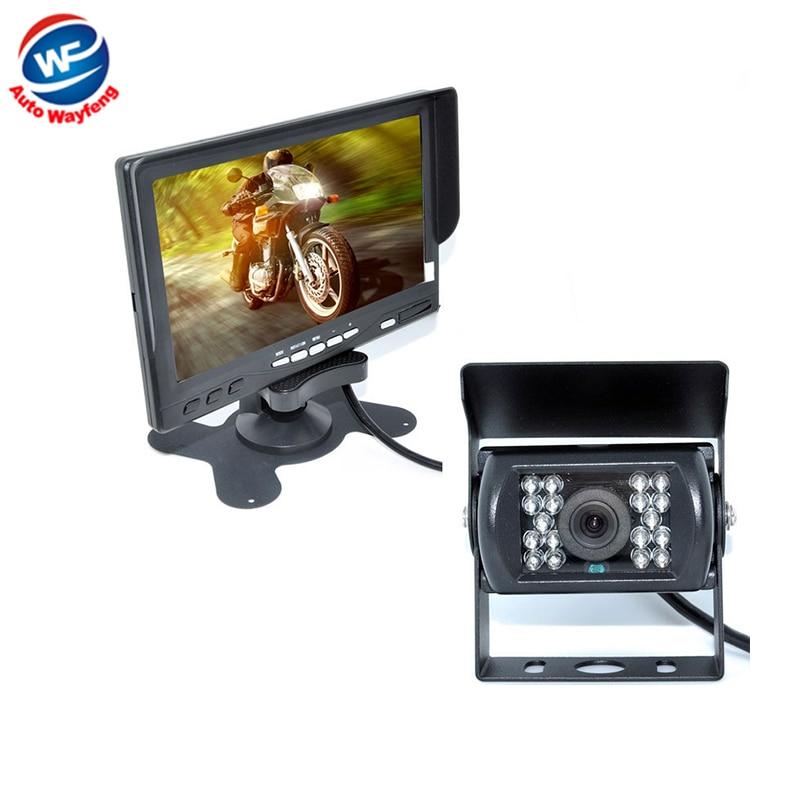Hot Selling 18 IR Reverse Camera +NEW 7 LCD Monitor+Car Rear View Kit car camera BUS/ Truck parking sensor 15M Or 20M Cable WF