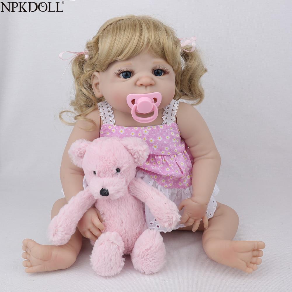 NPKDOLL 22inch 55cm Full Silicone Reborn Baby Dolls Lifelike Realistic Bebe Reborn menina Kid Boneca Toys