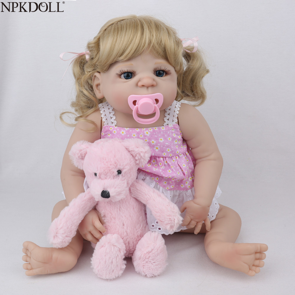 NPKDOLL 22 cal 55 cm pełna silikon Reborn Baby Dolls realistyczne realistyczne Bebe Reborn menina Kid Boneca zabawki dla Gril prezent w Lalki od Zabawki i hobby na  Grupa 1