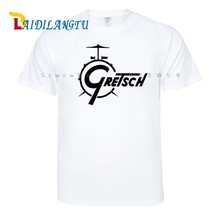 Gretsch Drums Distress New Fashion Short Sleeve T-shirt Men t shirt O-neck tops men clothes Tee(China)