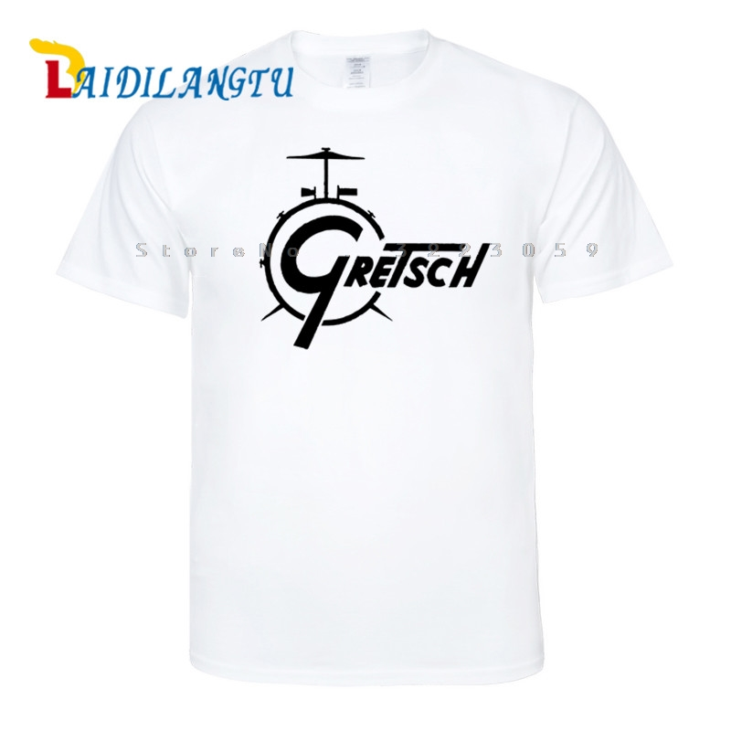 Gretsch Drums Distress New Fashion Short Sleeve   T  -  shirt   Men   t     shirt   O-neck tops men clothes Tee