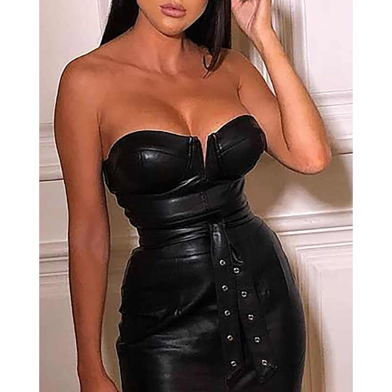 Backless pu lederen jurk Vrouwen hoge split zwarte strakke party dress Sexy night club wear low cut bodycon jurken belted vestidos