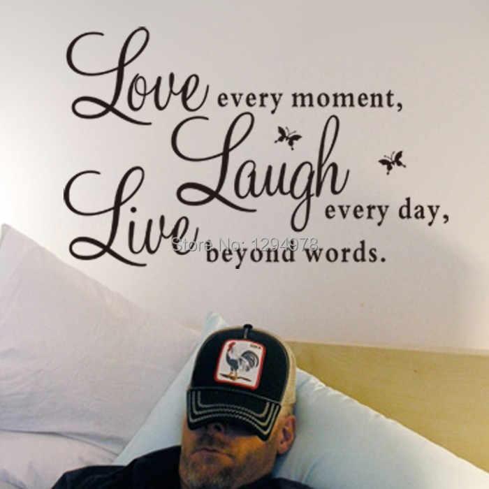Livro de Provérbios Live Love Laugh Borboleta DIY Adesivos de Parede Sala de TV/Sofá Fundo Home Decor Mural Decalque ZY1002