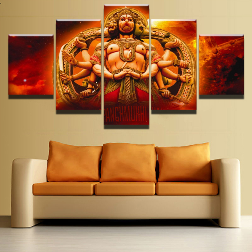 Canvas hd prints poster for living room wall art 5 pieces - Wall pictures for living room india ...