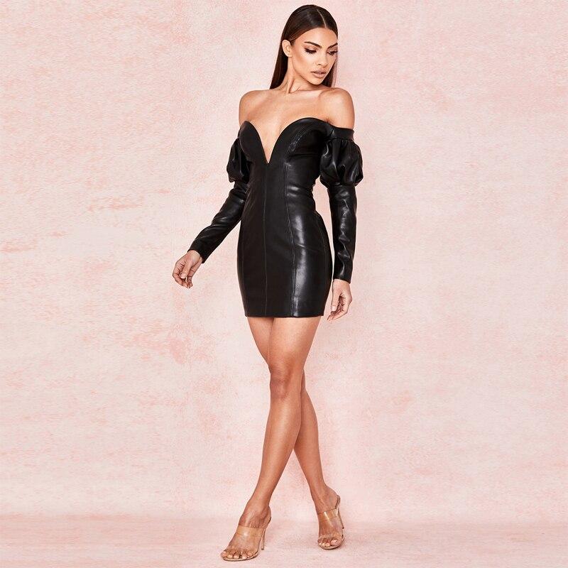 cff3e3438541 Del Partito Stile Aderente Lunghe Cuoio Da Modo Clubwear Alta Off Vestito  Nero All ingrosso Di 2019 Mini ...