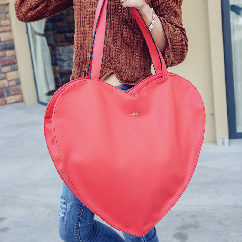 2017 hot red forma do Leather Heart Handbags : Heart Women Leather Handbags Hot