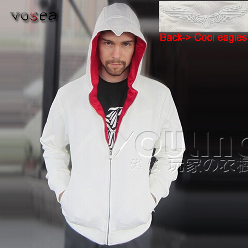 2017 Fashion Best Selling White Assassins Creed Hoodies Factory Outlet Brand Clothing Men Zipper Hoodie Cool Hooded Sweatshirt