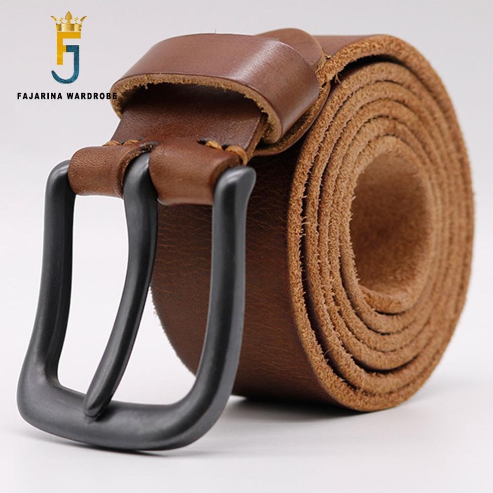 FAJARINA High Quality Cowhide Belt Mens Solid Pure Genuine Leather Strap Belts for Men Buckle Fancy