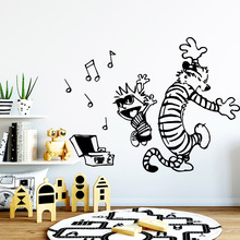 Funny calvin and hobbes dancing Wall Stickers Modern Fashion Sticker For Childrens Room Art Decal