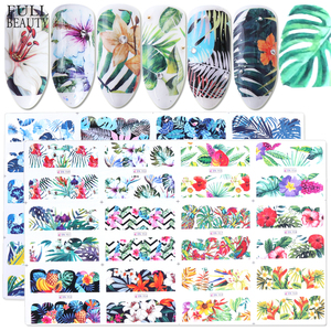 Full Beauty 24pcs Nail Art Sticker Flower Green Leaves Water Decals New Design Nail Foils Decorations Manicure Tools CHBN949-972
