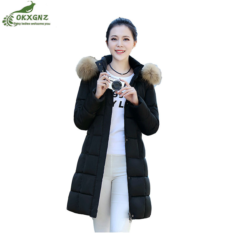 Winter new women jacket coat medium long section large size fashion Slim down cotton coat women thickening warm Outerwear OKXGNZ winter women down jacket hooded thick warm cotton coat large size new style casual jacket slim long sleeve medium long coat 2580