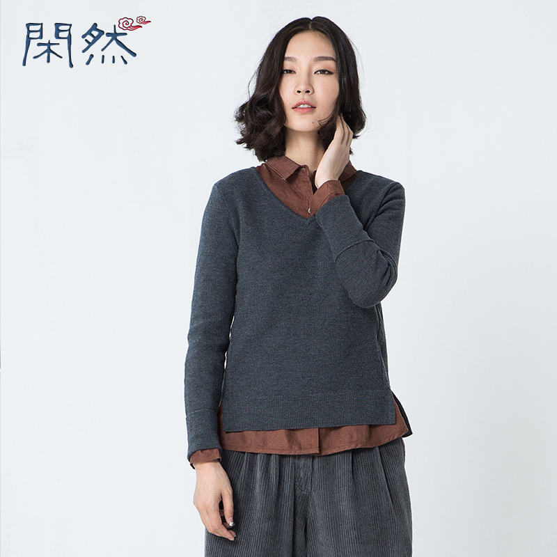 XianRan Autumn And Winter Female New Cashmere Pullovers V Neck Knit Shirt font b Women s