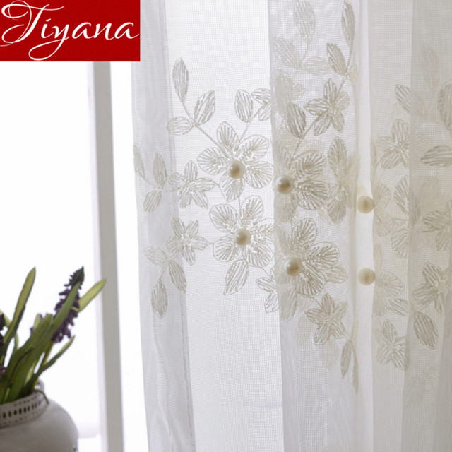 Lace Curtains Pearl Embroidered Voile Pure White Window Living ...