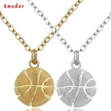 2f2219fcfc36 Venta caliente baloncesto colgante collar de oro collar de cadena de acero  inoxidable mujeres hombres deporte joyería de Hip Hop.