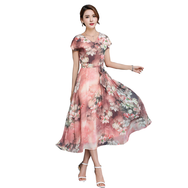 New Summerach Women Long dress Print Chiffon Slim Big Pendulum Central Lotus Flower Dresses Pink Light Green 1552