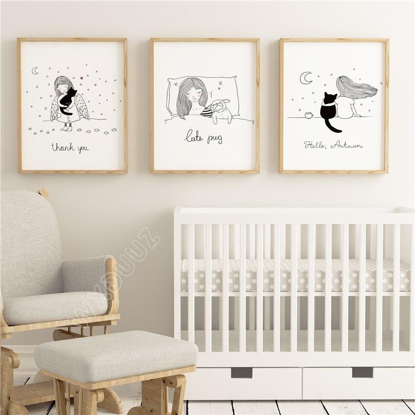 Cartoon Living Room: WXDUUZ Cute Cartoon Girl Living Room Decor Home Poster