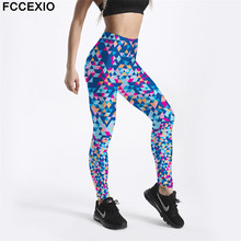 FCCEXIO New Punk Design Women Leggings Colored Diamond  Printed Legging Slim Fitness Workout Pants Fashion Trousers