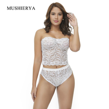 MUSHIERYA New Lace Sexy Underwear Erotic Set Embroidery Bralette Lingerie Plus Size Transparent Women