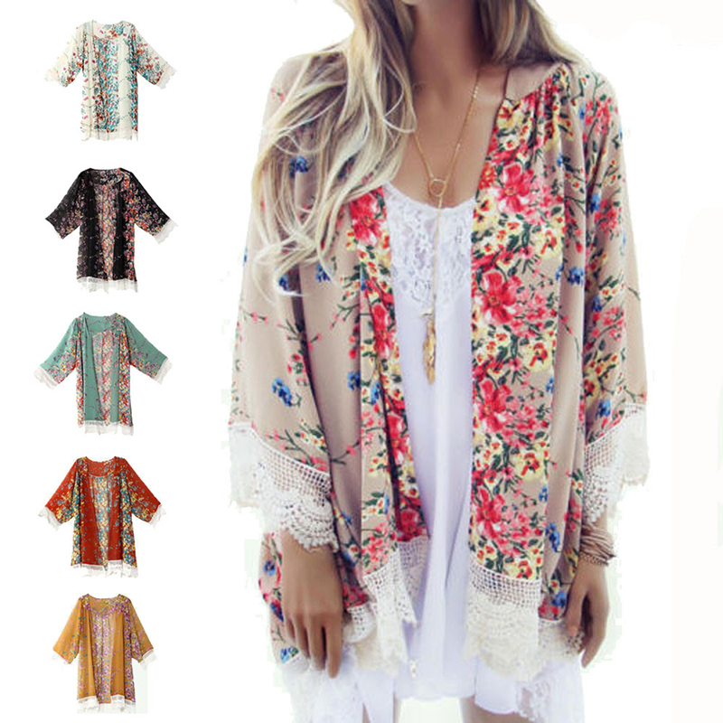 Print   Blouse     Shirt   Clothing women lady girl   Blouse   Casual Floral Kimono Cardigan Summer Beach Chiffon new fashion multicolor
