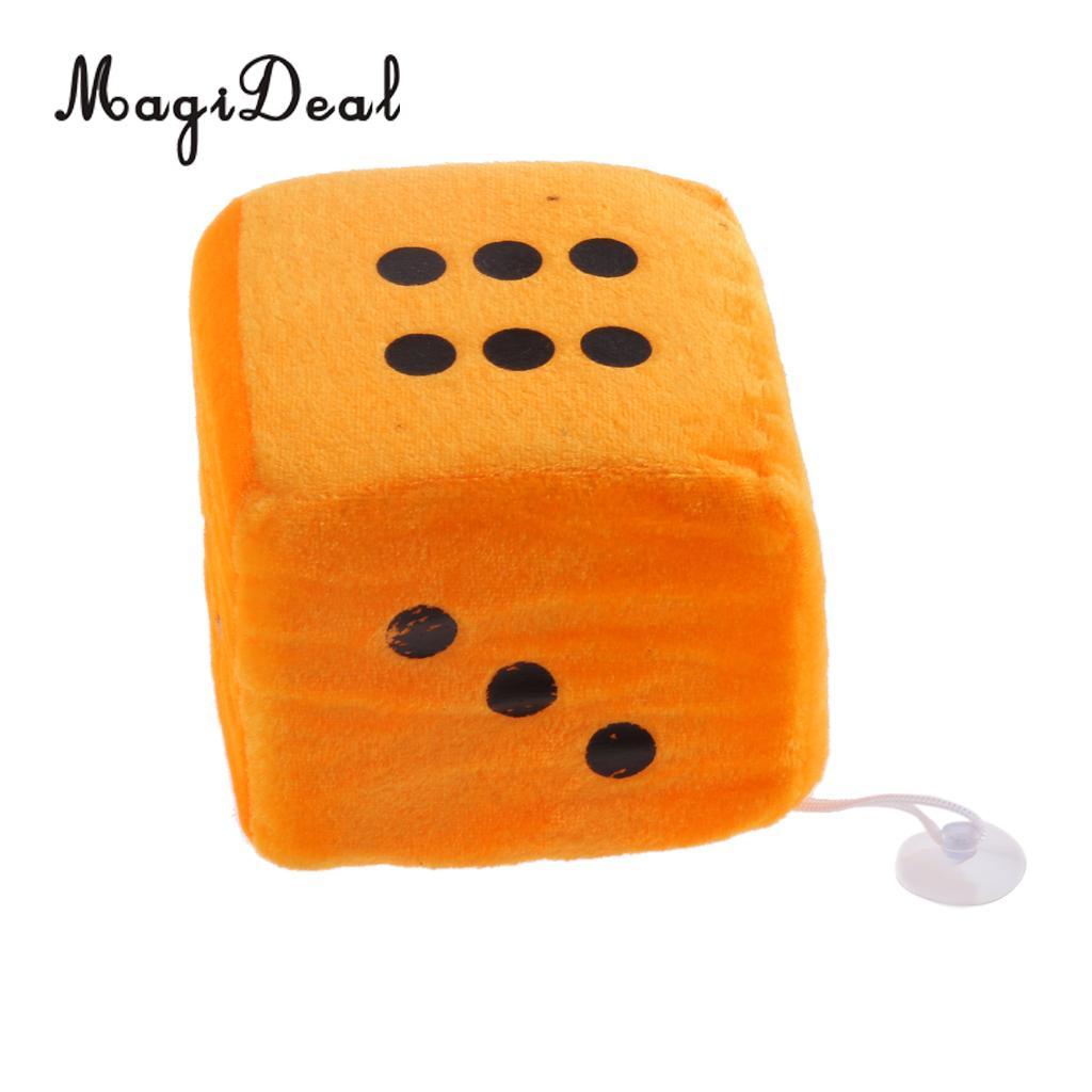 4 дюйма Мягкие плюшевые игрушки для игры в кости куб окна автомобиля зеркало вешалка липкая Декор День рождения подарки Сувенирные игрушки подарок 10x10x10 - Цвет: Orange