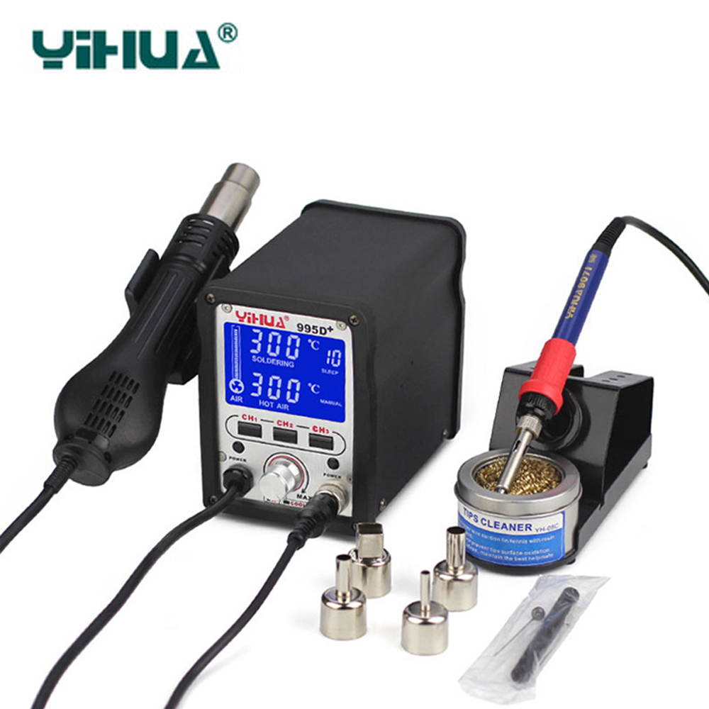 YIHUA 995D+ Soldering Station 2 IN 1 Lead Free Iron Soldering Station With Soldering Station Hot Air For Welding rework station цена