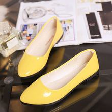 2018 Pu Patent Leather Shoes Woman Single Shoes Shallow Round Tow Spring Autumn Ballet Flats Shoes Contracted Big Size 35-42