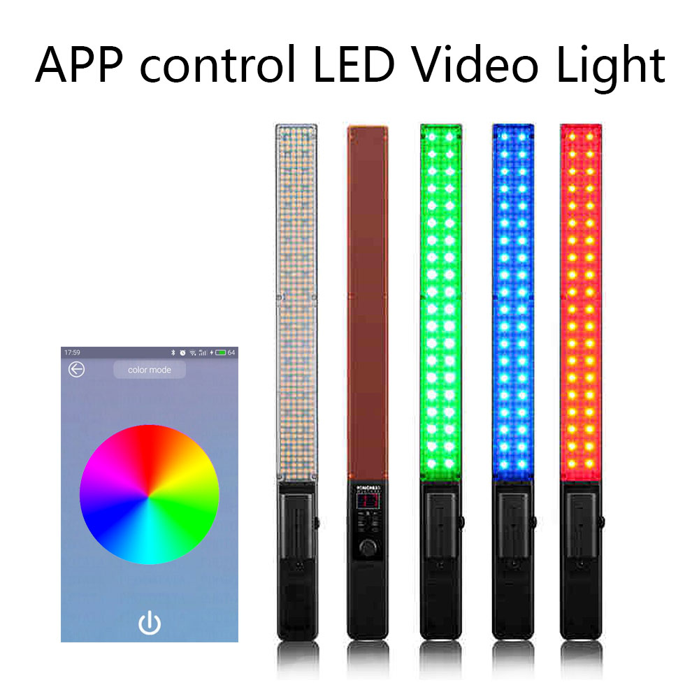 App Control YONGNUO YN360 Handheld LED Video Light 3200k 5500k RGB Colorful 39.5CM ICE Stick Professional Photo LED Stick yongnuo yn360ii yn360 ii led video light handheld ice stick photo lamp bicolor 3200k 5500k with rgb controlled by phone app