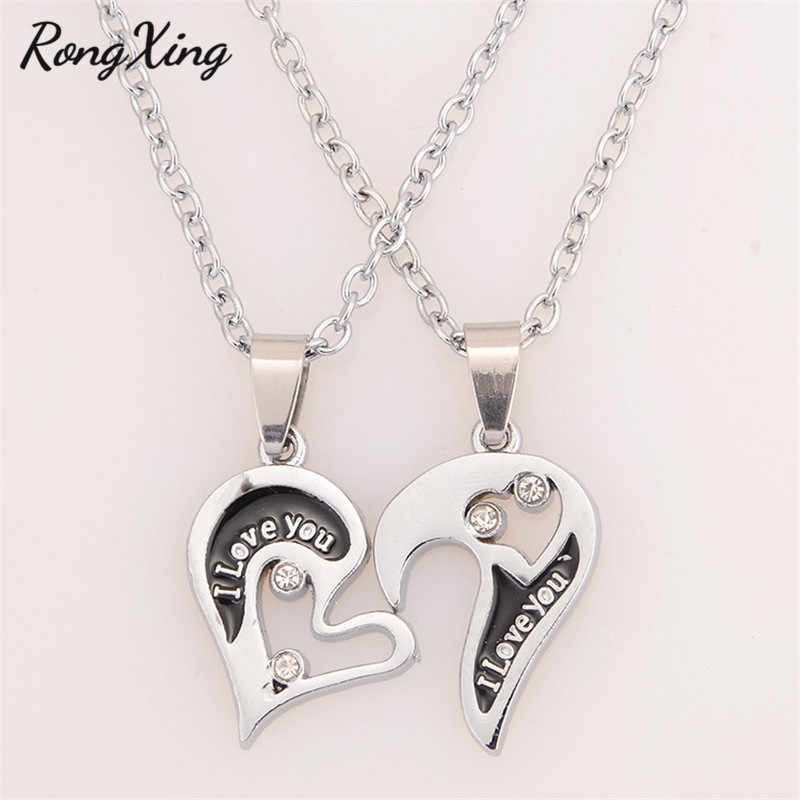 RongXing 2pcs/Set Love Heart Detachable Pendants Necklaces for Women Men Couple Jewelry Statement Necklace Valentine's Day Gifts