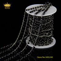 5meter Faceted Rondelle Glass Rosary Chains 3x4mm Black Glass Wire Wrapped Plated Silver Copper Links Glass