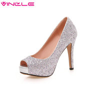 Glitter Ladies Party Shoes Thin High Heel Peep Toe Woman Pumps Platform Slip on Sexy Summer Wedding Woman Shoes Big Size 34 43