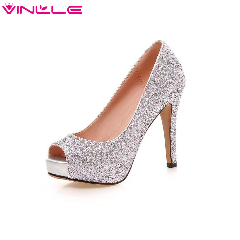 Glitter Ladies Party Shoes Thin High Heel Peep Toe Woman Pumps Platform Slip On Sexy Summer Wedding Woman Shoes Big Size 34-43