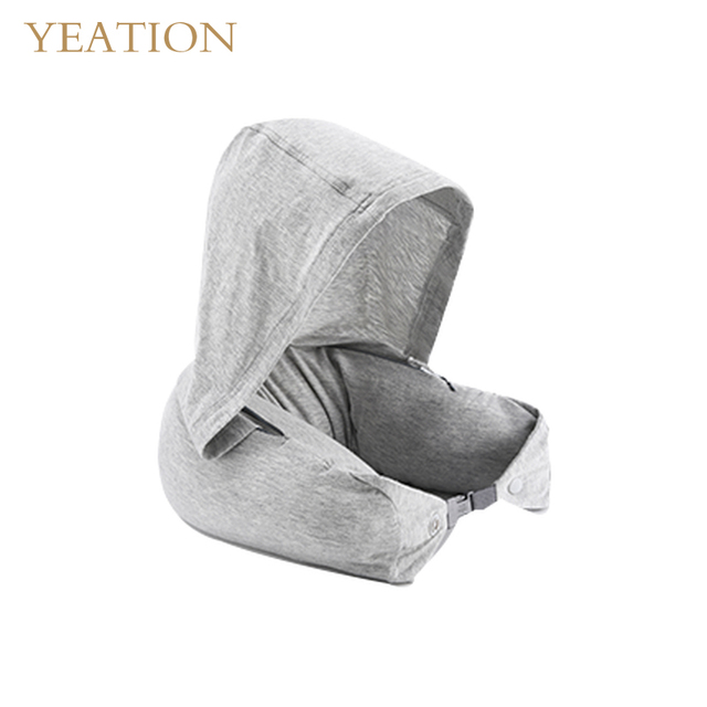 76a6151289 YEATION Natural Latex Massage Memory Pillow Soft U Shape Neck Pillow with  Hooded