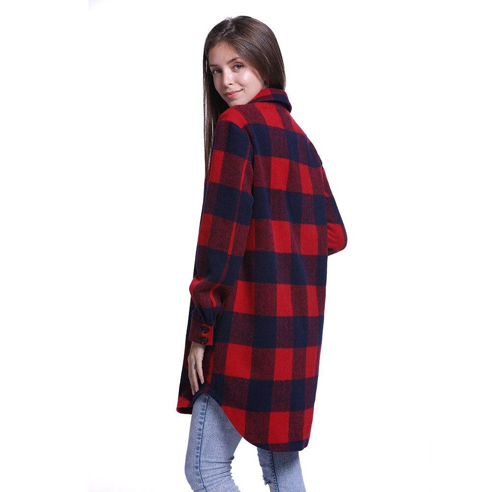 Sobretudo Nuovo Modo Reticolo Cappotto Allentato Abrigo Tempo Pieno Lattice Lungo Mujer Fondo 2018 Nel Limitata Inverno E Cotone Autunno Di Risvolto q7IOOZ