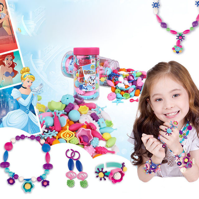 New Children's Handmade Color String DIY Pop Beaded Cordless Necklace Girl Wearing Beads Educational Toys