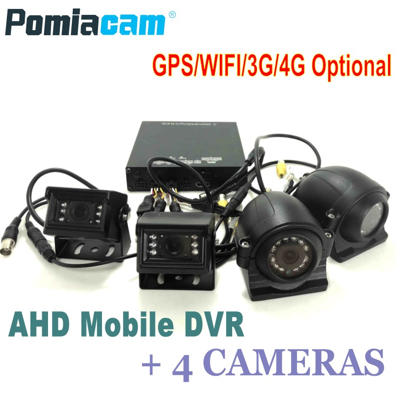 4CH HDD AHD Mobile DVR With 4 Cameras HDVR9804 GPS WIFI G-Sensor 3G 4G Car Bus Vehicle DVR Mobile HDD Video Record System