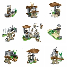 2019 new hot 8PCS WW2 German Army soldier weapons defense fortress compatible with Legoings brick childrens military toy gifts
