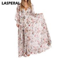 LASPERAL Summer Style Dress Women Long Sleeve Floor Length Boho Beach Party Vestidos Floral Printed Maxi