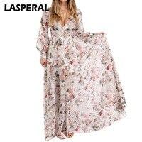 LASPERAL Summer Style Dress Women Long Sleeve Floor Length Boho Beach Party Vestidos Floral Printed Maxi