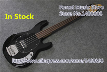 China Custom Shop Glossy Black Finish Fretless 4 String Musicman Electric Bass Guitar In Stock